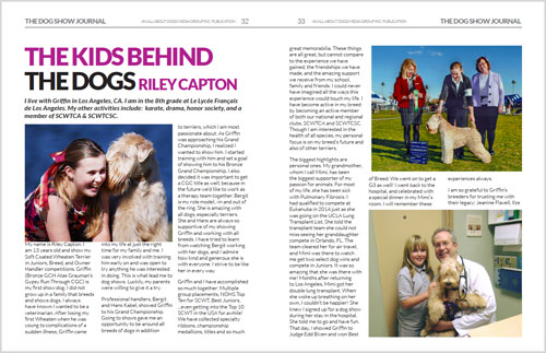 Dog Show Journal article: The Kids Behind the Dogs (February 2016)